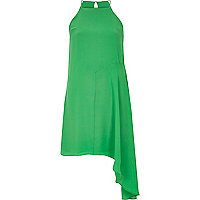 Green asymmetric woven cami dress