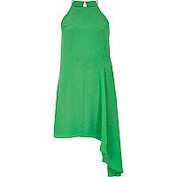 Green asymmetric woven cami dress
