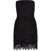 Black jersey lace bandeau dress