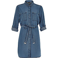 Mid wash cotton denim shirt dress