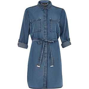 Mid wash cotton denim 70s shirt dress