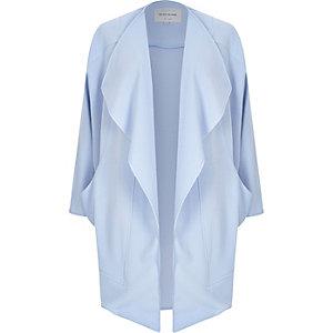 Blue crepe drape slouchy coat