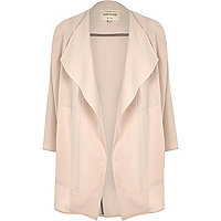 Sandy pink crepe relaxed fit draped coat