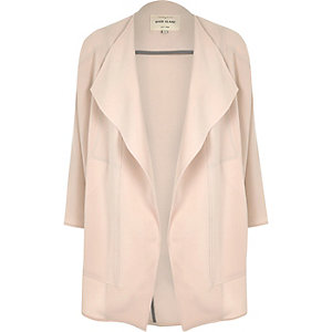 Sandy pink crepe drape slouchy jacket