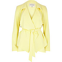 Pastel yellow cropped drape trench jacket