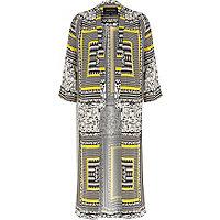 Yellow crepe Aztec print duster kimono
