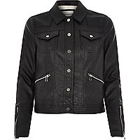 Black leather-look Western jacket