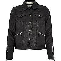 Black leather-look Western jacket