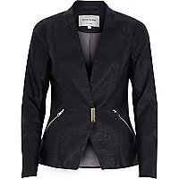 Black leather-look blazer jacket