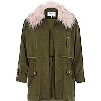 Khaki pink fur trim casual military jacket