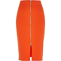 Orange zip front pencil skirt