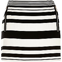 Black and white stripe zip pocket mini skirt