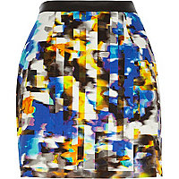 Blue smudge print mini skirt