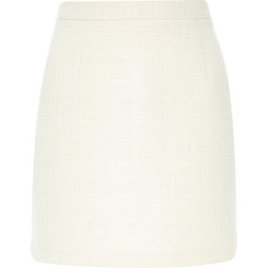 Cream woven mini skirt