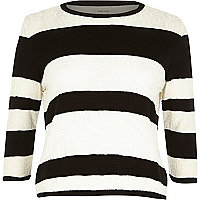 Black stripe textured stitch top