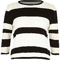 Black stripe textured stitch top