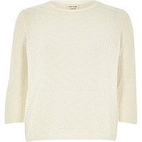 Cream textured stitch 3/4 sleeve top