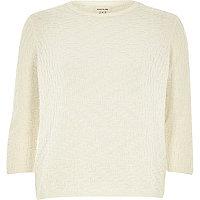 Cream textured stitch 3/4 sleeve top