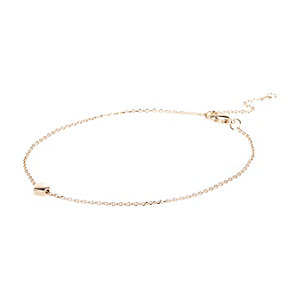 Gold tone skinny chain heart anklet