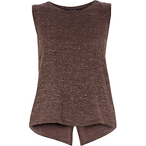 Brown metallic linen sleeveless top
