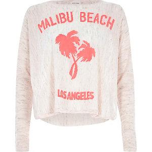 Pink linen Malibu Beach print top