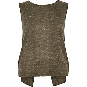 Khaki linen sleeveless split back vest