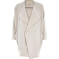 Grey crepe drape slouchy coat
