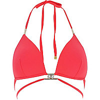 Red strappy gem triangle bikini top