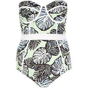 Green palm tree print mesh insert swimsuit