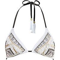 White Pacha embellished triangle bikini top