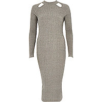 Grey ribbed cut out bodycon dress
