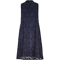 Navy lace turtle neck swing dress