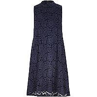Navy lace turtle neck swing dress