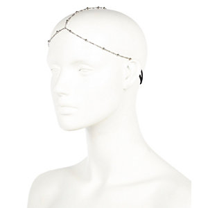 Silver tone delicate ball hair crown