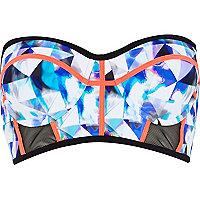 Blue graphic print mesh bustier bikini top