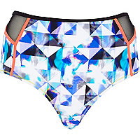 Blue grapic print high waisted bikini bottoms