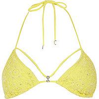 Yellow Pacha crochet embellished bikini top
