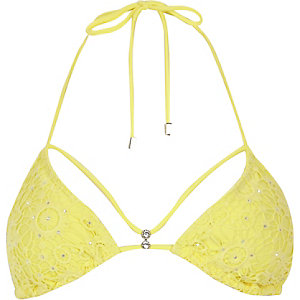 Yellow Pacha crochet embellished bikini top