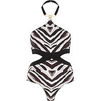 Black Pacha zebra print padded swimsuit