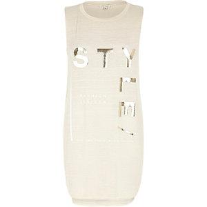 Beige jersey longline foil print tank top