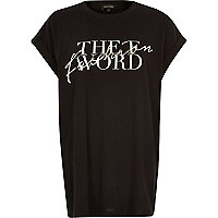 Black the F word print oversized t-shirt