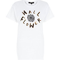 White wallflower print oversized t-shirt