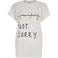 White sorry not sorry oversized t-shirt