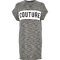 Grey stripe couture turtle neck t-shirt