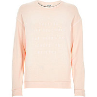 Pink embroidered front sweatshirt
