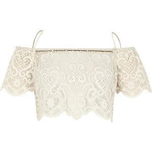White Pacha lace bardot top