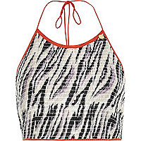 Black Pacha zebra print crop top