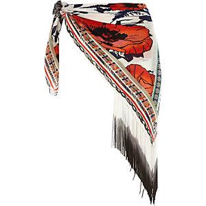White Pacha printed fringed sarong