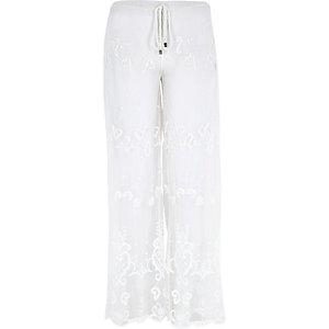White Pacha lace chiffon trousers