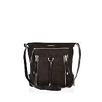 Black suedette cross body tassel bag